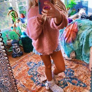 Pixie Pink Balloon Sleeve Fuzzy Furry Plush Sweatr